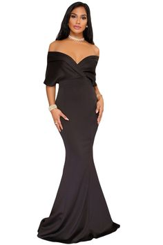 97996b87f Black Off The Shoulder Mermaid Maxi Dress