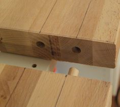 They used dowels and glue to connect 2 long sections of butcher block. And routed the edge! Creating Custom High End Butcher Block Counter Tops for Cheap