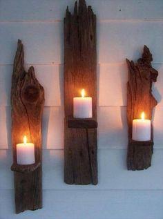 diy wood log candle holder