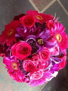 Wedding Bouquet: Cerise Pink Gerbera, Cerise Pink Roses, Purple Clematis, Purple Kisses