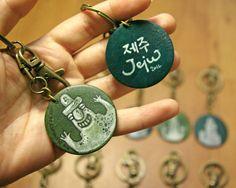 Jeju Harubang Keyring Handmade and hand painted under the sea colorful korean traditional culture keyring by lithuanian artist Agne Latinyte (aka yuujin, yuujinaga) on Etsy shop