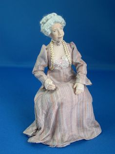 Victorian Pink Hairstripe Sitting Old Lady big