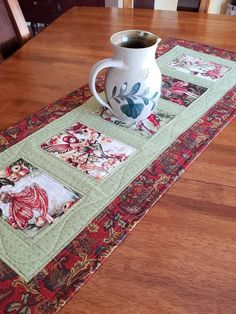 Quilted Table Runner with Woodland Fairies in Green and Red, size whimsical decor, Quiltsy Handmade Quilted Table Runners Christmas, Table Runner And Placemats, Table Runner Pattern, Panel Quilts, Quilt Blocks, Old Wood Ladder, Viking Sewing Machine, Tablerunners, Sewing Table