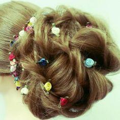 Twisted updo prom hair wedding hair event hair Asthecurlturns.com Facebook.com/victoryroll Doordye-sj.com