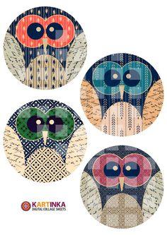 OWLS - Digital Collage Sheet -   Etsy.