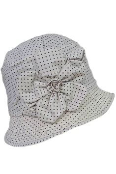 Pin dots rain hat in color white #SS2015 from Grevi at Moods of Florence, Portland Oregon.
