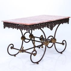French Iron and Marble Pastry Table | From a unique collection of antique and modern tables at https://www.1stdibs.com/furniture/tables/tables/
