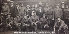 A group of veterans from the VFW National Headquarter arrive in Seattle to attend the 1922 VFW National Encampment.