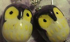 Earrings Purple Ceramic Owls Hand Painted Cute by CherylsGoodStuff