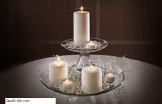 White candle centerpiece. Wedding Centerpieces on a Shoestring