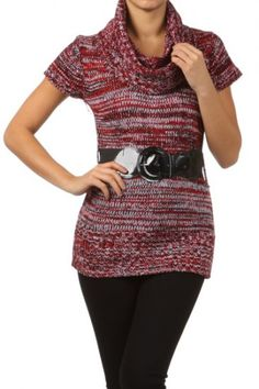 100 percent Acrylic 1S/1M/1L/1XL Per Pack Purple, Brown, Gray This HIGH QUALITY sweater is VERY NICE!! Made from a super soft and comfy fabric, this fitted knit top with a cowl neckline and an attached belt is hand washable, and fits true to size.