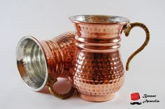 NEW Solid Turkish Copper Mug, 100% Pure Copper, Brass Handle, Moscow Mule Mug