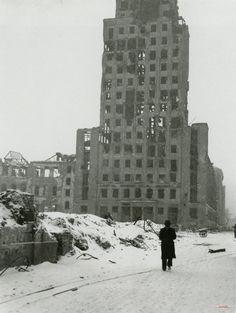 Tenebrae Factae Sunt - Warsaw/Warszawa, Prudential, By John Vachon. Poland History, Germany Poland, Hiroshima, City Buildings, Travelogue, Old City, Dieselpunk, Capital City, Architecture