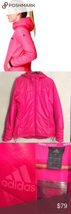 """ADIDAS OUTDOOR🔹HI-LO PUFFER JACKET🔹M 8-10🔹NWOT ADIDAS OUTDOOR warm Primaloft hot pink Hi-low puffer jacket. Labeled size L but fits ladies 8-10. Hood, zip pockets, adjustable cinch cord at bottom. Shell is nylon, rest is poly. Lightweight, warm. Measures 21.5"""" armpit to armpit, and 26.5"""" in front and 29.5"""" in back. Hi-low design. NEW W/O TAGS. Covershot is not the actual style, but a similar Adidas jacket. NICE! SUGGESTED USER, FAST SHIPPER. Adidas Jackets & Coats Puffers"""