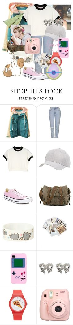 """""""Untitled #152"""" by kawaiirasberrytea ❤ liked on Polyvore featuring Topshop, Charlotte Russe, Converse, Pusheen, Chronicle Books, M&Co, Forever 21 and Fujifilm"""