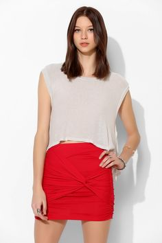 Lush Knot-Front Knit Mini Skirt - Urban Outfitters