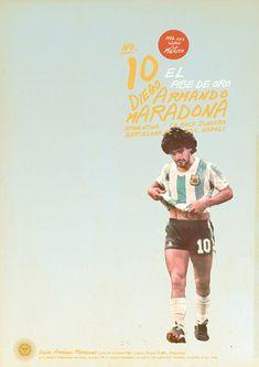 Diego Maradona - soccer, football poster - by Zoran Lucic Retro Football, Football Art, World Football, Nike Football, Soccer Poster, Poster Boys, Soccer Pro, Football Players, Girls Soccer