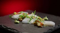 Scallop Ceviche - My Kitchen Rules - Official Site Chef Recipes, Cooking Recipes, Scallop Ceviche, Micro Herbs, My Kitchen Rules, Latest Recipe, Light Recipes, Soul Food, Entrees