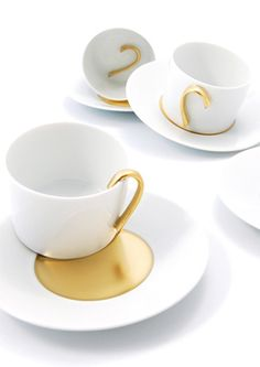 """The """"1000"""" tea cups from Bernardaud were created by the """"Designer Team 5.5"""" and are completely handcrafted of Limoges porcelain. It is a limited edition of only 1,000 sets."""