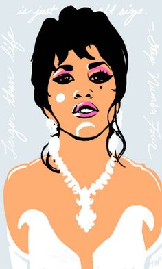 Miss Chi Chi Rodriguez played by John Leguizamo in the film To Wong Foo: Thanks For Everything! Julie Newmar. I wanted to incorporate more design into my illustration style and decided to use more bold linework and shapes with the inclusion of handwritten text (Step 4 of Becoming A Drag Queen).  STUNNING!