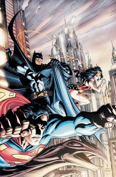 DC Trinity: Batman, Wonder Woman, Superman // pencils by Andy Kubert, Inks by Art Thibert, colors by Pete Pantazis Comic Book Artists, Comic Books Art, Comic Art, Arte Dc Comics, Dc Universe, Dc Trinity, Superman Wonder Woman, Batman Vs Superman, Batman Art