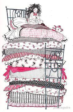 """The Princess and the Pea"" Art Prints by jessicagadra Blackwork, Illustrations, Illustration Art, Hans Christian, Princess And The Pea, Morris, Princess Art, Fairytale Art, Canvas Prints"