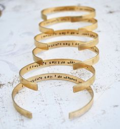 Bridesmaid Gift, 6 Personalized Brass Cuff Bracelets,Hand Stamped, Custom, Wedding Jewelry, Bridesmaid Jewelry,Maid of Honor Gift