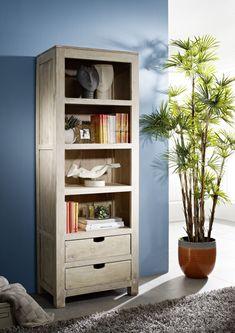 Regal der Serie NATURE WHITE aus Akazienholz, weiß lackiert. Diese Möbel schaffen eine helle und freundliche Wohnatmosphäre! #möbel #woodwork #homeinterior #interiordesign #homedecor #akazie #regal #shelf #massivmoebel24