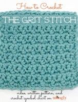Learn to #crochet the Grit Stitch! Video tutorial, written pattern, and crochet symbol chart from Mooglyblog.com