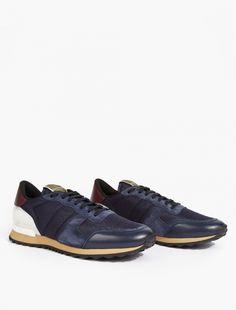 Valentino,Navy/Burgundy Running Sneakers,NAVY,0