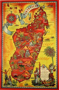 Affiche Madagascar Carte Imagée 1952 Maurice Tranchant