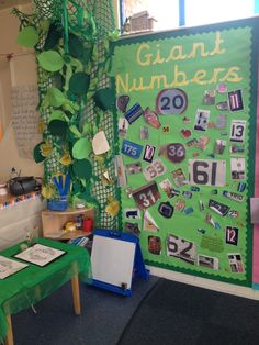 Giant numbers - jack and the beanstalk - children found 'giant numbers' as part of their homework to put on our display. They also pegged any writing they had done on our beanstalk. Maths Eyfs, Numeracy Activities, Math Games, Book Activities, Traditional Tales, Traditional Stories, School Displays, Classroom Displays, Library Displays