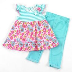 Baby girls 12 months turquoise 2 pc set pants and top infant sale B509