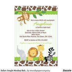 Safari Jungle Monkey Baby Shower Invitations