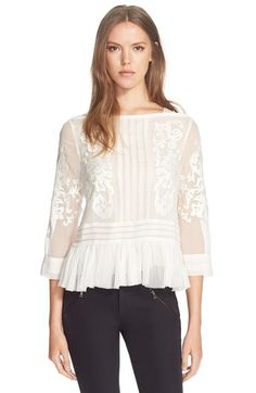 Free shipping and returns on Rebecca Taylor Embroidered Paisley Peplum Top at Nordstrom.com. An embroidered paisley design scrolls over the ethereal silk of a charming top finished with a pleated peplum hem.