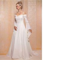 Idée robe de mariée, à faire évoluer en y ajoutant du vert et en désolidarisant les manches.. Why not?