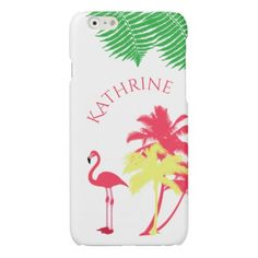 #girly - #Pink girly flamingo tropical summer and palm trees glossy iPhone 6 case