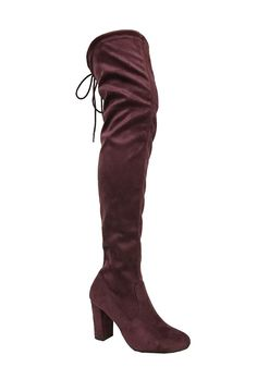 Delicious Women's Faux Suede Back Tie Over the Knee Chunky High Heel Dress Boot Women's Over The Knee Boots, Chunky High Heels, Women's Boots, Shoes, Tie, Amazon, Awesome, Check, Image