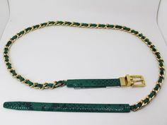 Calvin Klein Women's Belt Green Reversible Snake Embossed Leather Woven Chain  #CalvinKlein