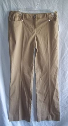 Calvin Klein  Size 6 Dark Khaki Pants NWT Cotton Blend Womens Stretch #CalvinKlein #CasualPants