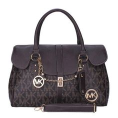 Michael Kors Chain Logo Signature Large Coffee Satchels