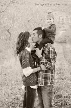 Family of 3 photo idea, but we would add Ms Olivia to my shoulders to make it a family of 4 :)