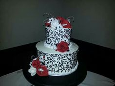 Norton Cake  #white black and red wedding sugar flowers #vintage #chic #roses and calla lilies