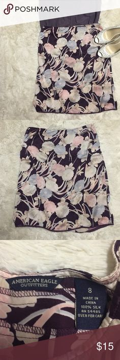 American Eagle floral Silk Skirt This skirt is 100% silk in good condition. This is a great summer piece. American Eagle Outfitters Skirts