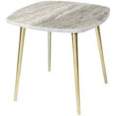 Broste Copenhagen Thorid Marble Side Table - Brown/Brass