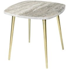 Broste Copenhagen Thorid Marble Side Table - Brown/Brass