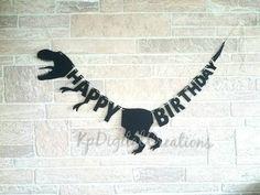 Jurassic park birthday party, Jurassic World party banner, dinosaur birthday party banner, Jurassic park birthday banner Birthday Party At Park, Dinosaur Birthday Party, 4th Birthday Parties, Happy Birthday Banners, Diy Birthday Banner, Happy 5th Birthday, 5th Birthday Party Ideas, Birthday Crafts, Jurassic Park Party