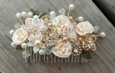 Bridal Hair Comb, Wedding Comb, Decorative Comb, Floral Wedding Comb, Champagne Comb, Peach, Ivory, Swarovski Crystals, Pearls, KathyJohnson by kathyjohnson3 on Etsy