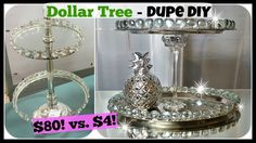 DOLLAR TREE DIY Home Decor DUPE, 2 Tiered Tray Stand Glam Easy Craft. Hi Everyone, thank you for watching my Dollar Tree easy DIY Home Decor video. In this DIY, I will show you how to make this 2 tiered tray which took me about 30 minutes. This DIY was Dollar Tree Decor, Dollar Tree Crafts, Easy Home Decor, Handmade Home Decor, Diy Home Decor For Apartments, Bedroom Organization Diy, Makeup Organization, Perfume Organization, Diy Bathroom