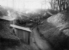 THE ROMANIAN ARMY IN THE ROMANIAN CAMPAIGN, 1916-1918. Romanian troops in a trench with shelters.